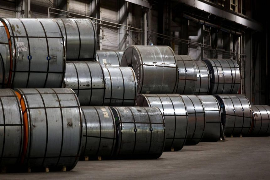 Coils of steel in storage at a port authority facility in Hamilton, Ontario, Canada, on March 9, 2018.