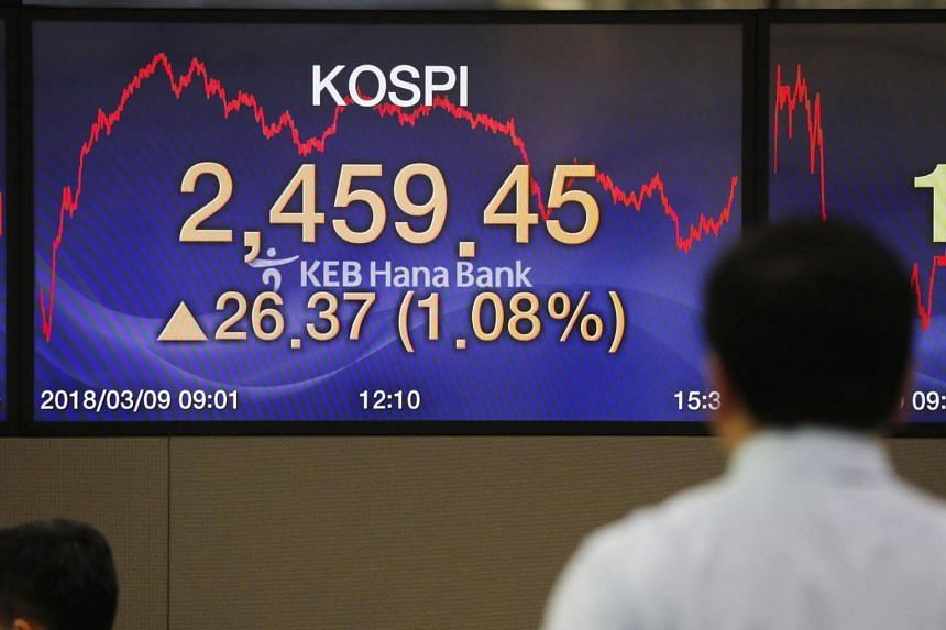 A dealer works in front of the monitors at KEB Hana Bank in Seoul, South Korea, on March 9, 2018.