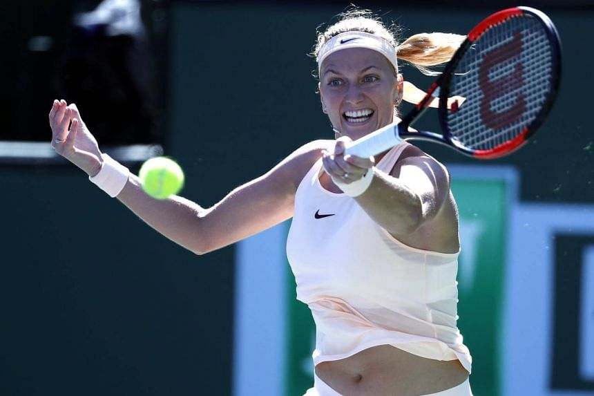 Petra Kvitova from the Czech Republic in action against Amanda Anisimova from US during the BNP Paribas Open at the Indian Wells Tennis Garden in Indian Wells, California, US on March 11, 2018.
