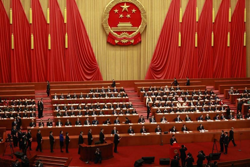 A view of the the third plenary session of the first session of the 13th National People's Congress (NPC) at the Great Hall of the People in Beijing, on March 11, 2018.