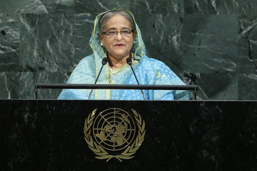 Bangladeshi Prime Minister Sheikh Hasina addresses the 72nd United Nations General Assembly at UN headquarters in New York, on Sept 21, 2017.
