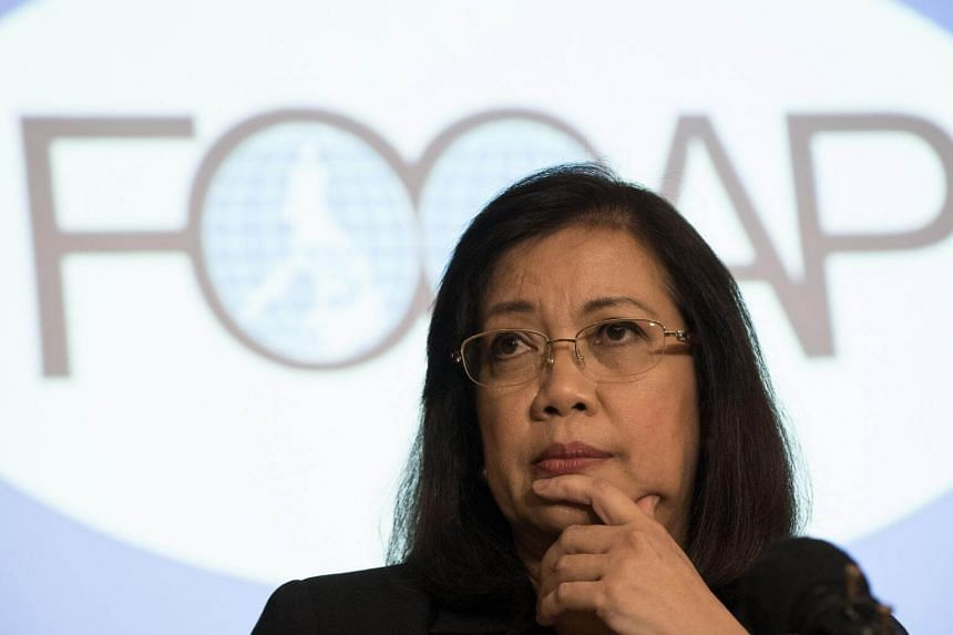 Philippine's Chief Justice Maria Lourdes Sereno listens to a question during the Foreign Correspondents Association of the Philippines forum in Manila, on March 9, 2018.