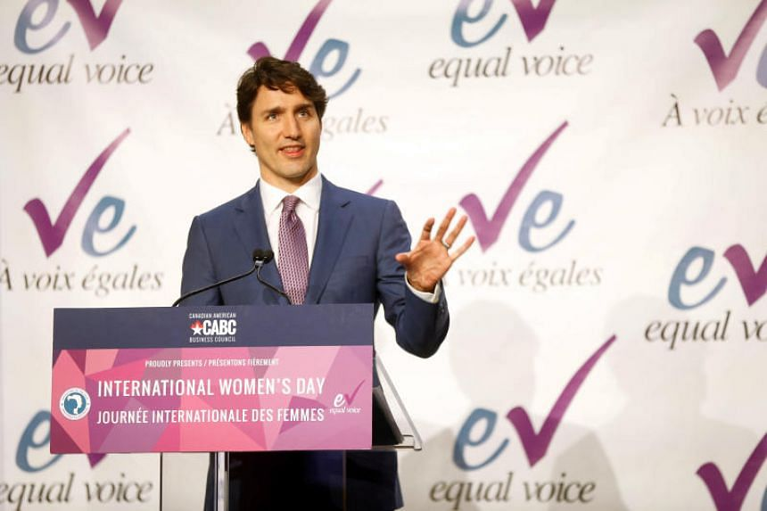 Canada's Prime Minister Justin Trudeau delivers remarks at the Equal Voice International Women's Day Lunch in Toronto, Ontario, Canada, on March 8, 2018.