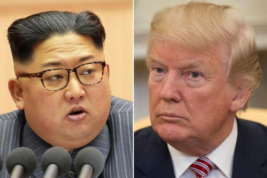 North Korean leader Kim Jong-Un on Dec 23, 2017 and US President Donald Trump in Washington, DC on Feb 9, 2018.