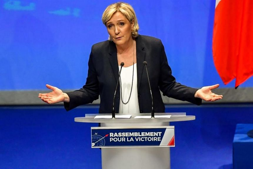 French far-right party Front National president Marine Le Pen at her party's congress on March 11, 2018 in Lille, north of France, after being re-elected for a third term as leader.