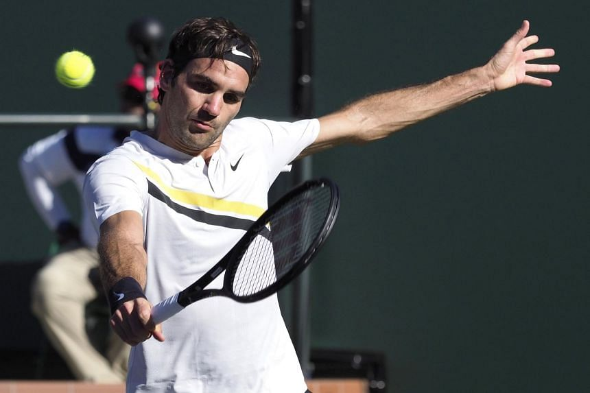 Roger Federer in action against Federico Delbonis during the BNP Paribas Open at the Indian Wells Tennis Garden, on March 11, 2018.