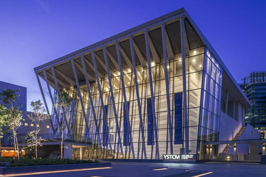 Exterior facade of the Yong Siew Toh Conservatory of Music in Singapore.