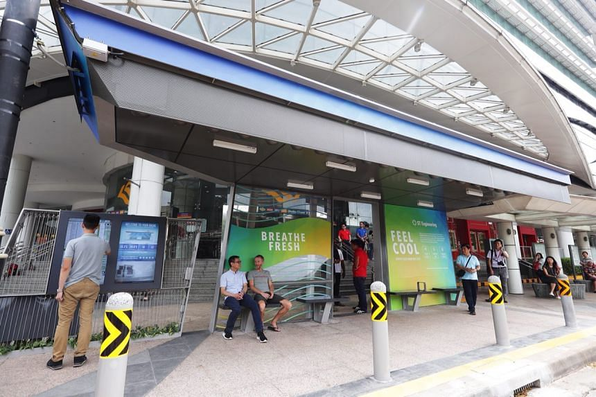 The pilot bus stop, which has been erected alongside an existing one outside Plaza Singapura, employs the Airbitat Oasis air cooling and purification system developed by ST Engineering.