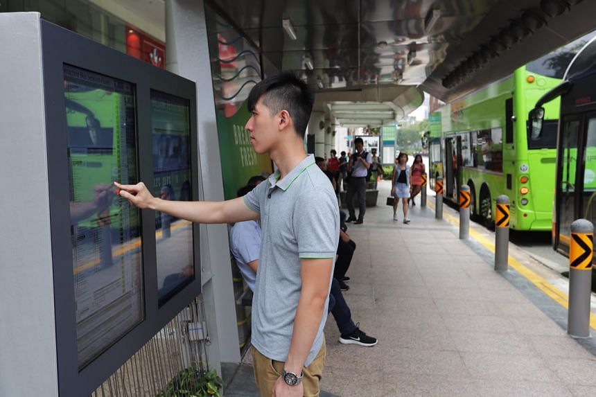 Sensors embedded in the bus-stop infrastructure monitor air temperature and purity, levels of which are displayed on a touchscreen board.