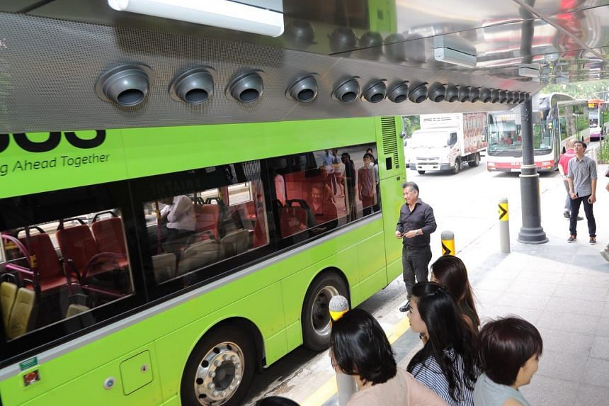 The bus stop has overhead nozzles that deliver cool air of as low as 24 deg C and which is as much as 90 per cent cleaner, with harmful PM2.5 particles filtered out.