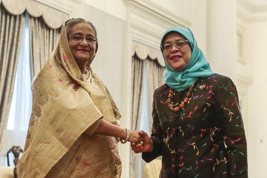Bangladeshi Prime Minister Sheikh Hasina (left) meeting President Halimah Yacob at the Istana, on March 12, 2018.