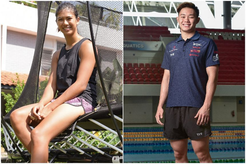 National athletes Teong Tzen Wei (right) and Sasha Christian were named the third and fourth recipients of the Singapore Management University's Yip Pin Xiu Scholarship on March 12, 2018.