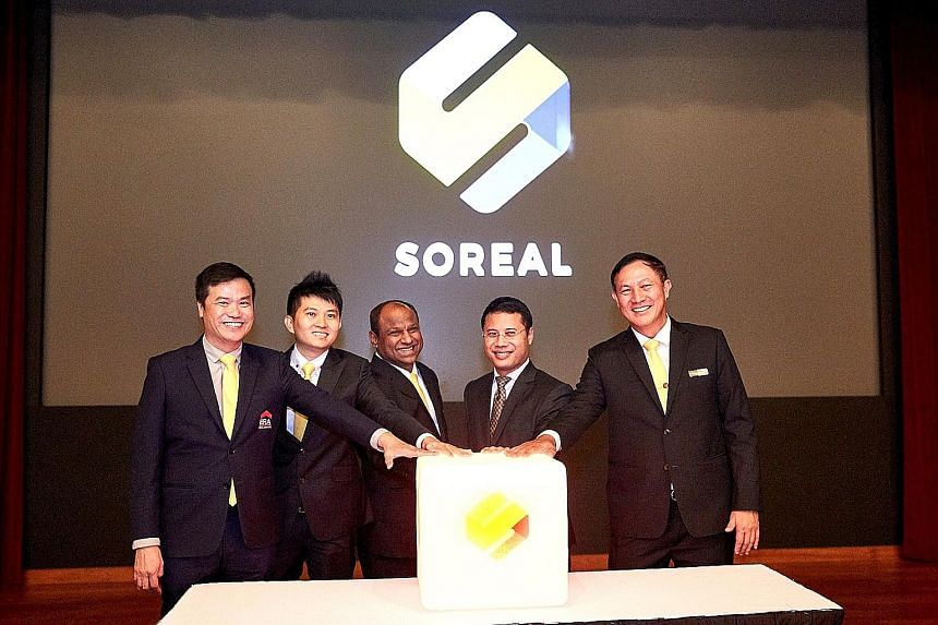 (From left) ERA Realty CEO Jack Chua, SoReal chief technology officer Jeremiah Ng, PropNex Realty CEO Ismail Gafoor, Second Minister for National Development Desmond Lee and Huttons Asia CEO Goh Kee Nguan at the launch of SoReal.