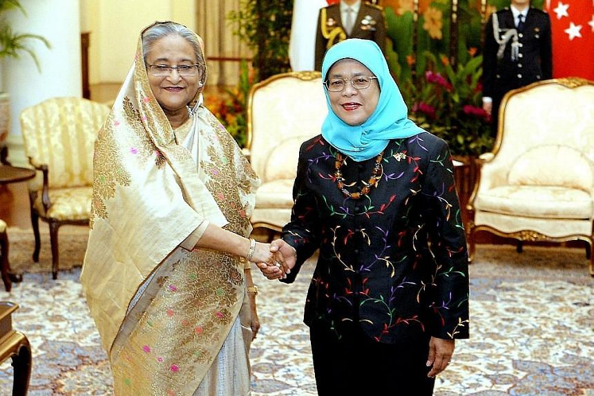 Madam Hasina meeting President Halimah Yacob at the Istana yesterday. This is the Prime Minister's first official visit to Singapore, and she is expected to make a pitch on the economic opportunities in her country at a business forum today. Prime Mi