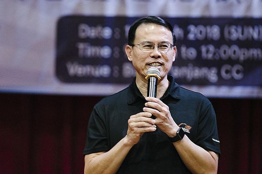 Bukit Panjang MP Teo Ho Pin speaking on Sunday at Bukit Panjang CC, where exercises to delay the onset of dementia were demonstrated.