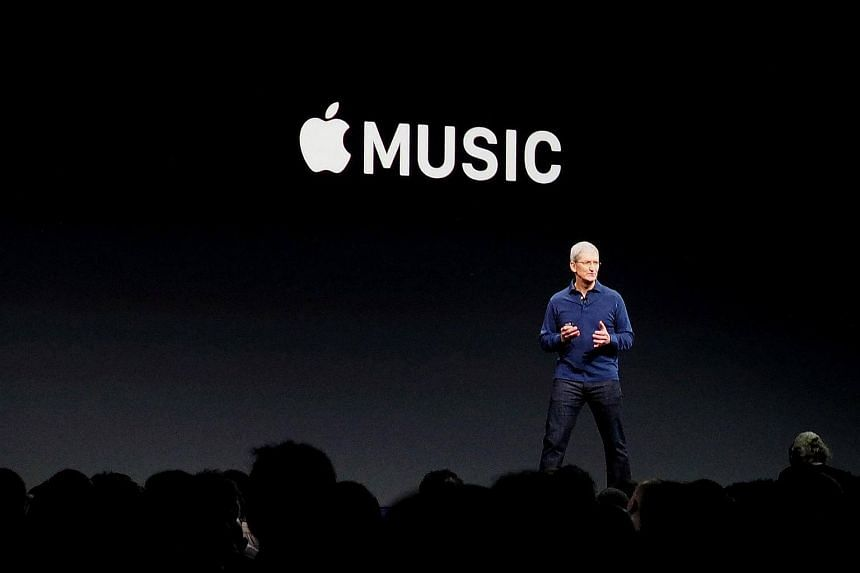 Apple CEO Tim Cook announcing the launch of Apple Music, on June 8, 2015.