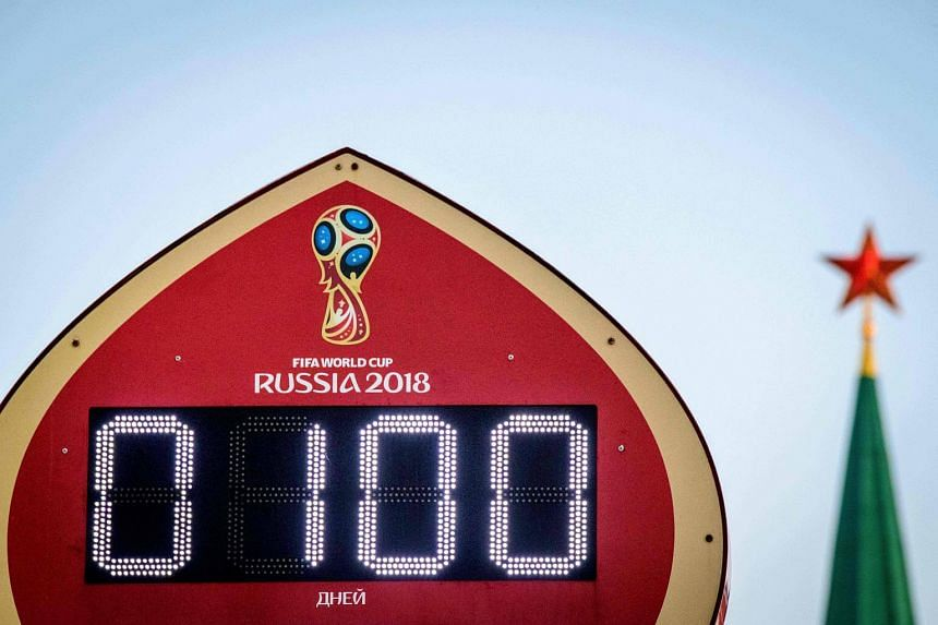 The digital Fifa World Cup 2018 countdown clock placed in front of the Red Square and the Kremlin in Moscow, on March 5, 2018.