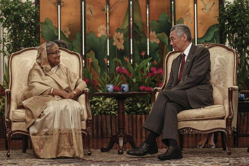 Bangladeshi Prime Minister Sheikh Hasina with Prime Minister Lee Hsien Loong at the Istana on March 12, 2018.