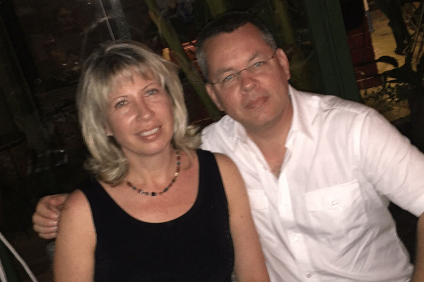 Andrew Brunson (right), who ran a church in the western city of Izmir, was detained by the Turkish authorities in October 2016 and then remanded in custody.