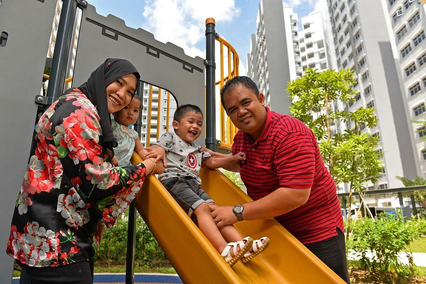 Ms Nur'ain likes the park near their flat, which has a playground and an exercise area for adults. PHOTO: CHONG JUN LIANG