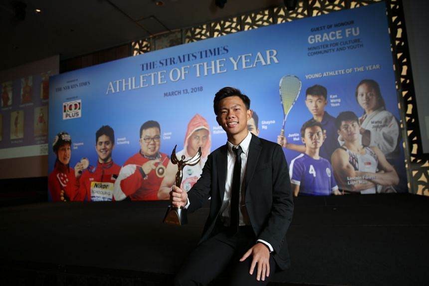 Former Meridian Junior College footballer Justin Hui was named The Straits Times' Young Athlete of the Year on March 13, 2018.