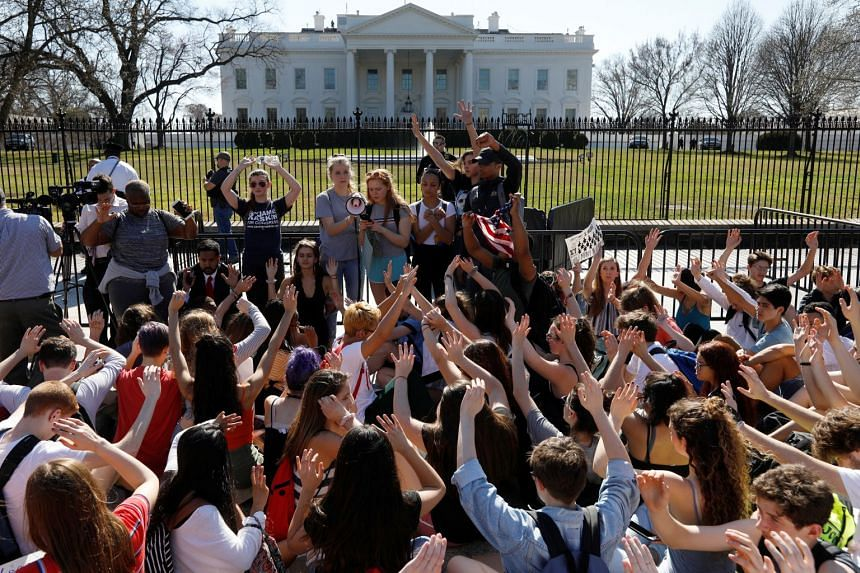 Students protesting against gun violence in front of the White House in Washington, US, on Feb 21, 2018.