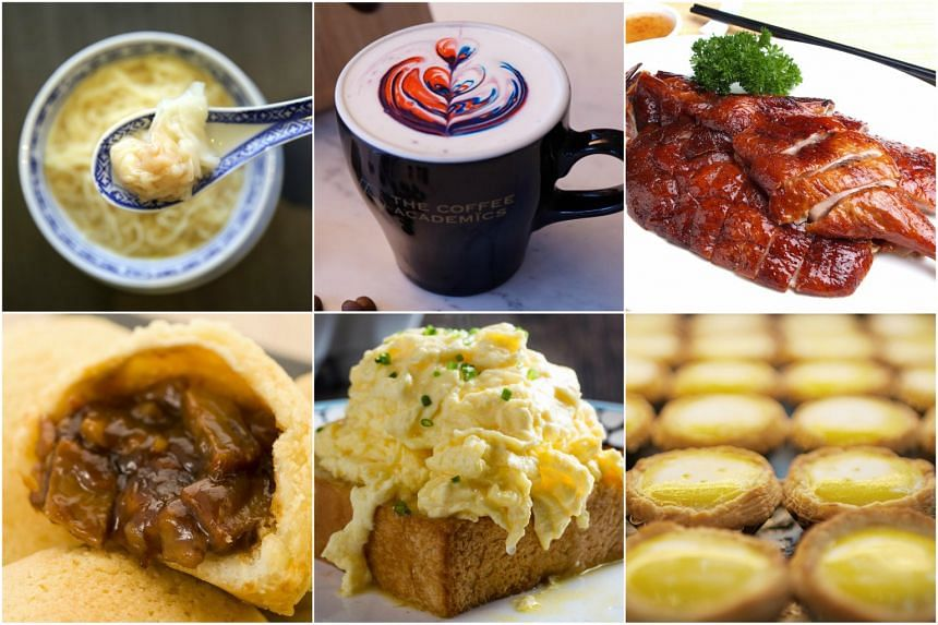 (Clockwise from top left)  Dumpling noodles from Mak's Noodles, latte art at The Coffee Academics, a meat dish from Kam's Roast, egg tarts from Honolulu Cafe, egg toast from Tai Cheong Bakery, baked bun with barbecued pork from Tim Ho Wan.