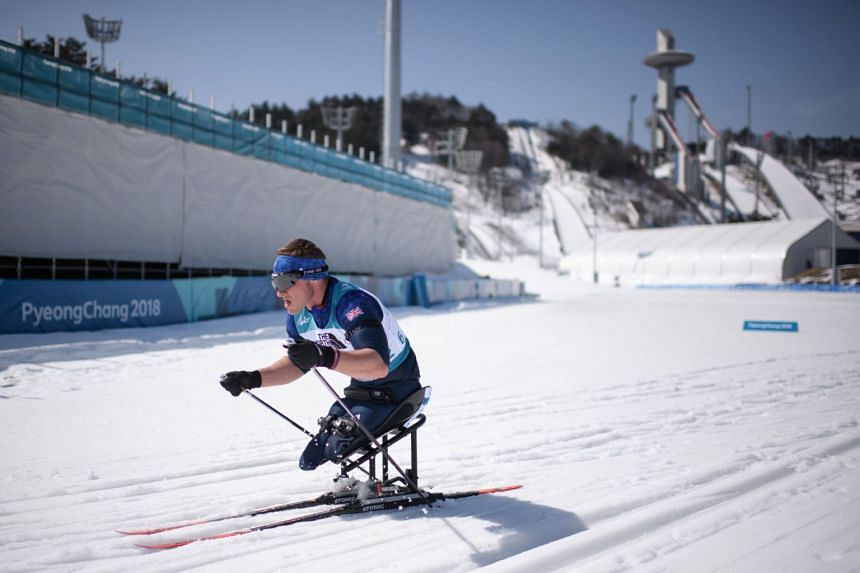 Scott Meenagh of Britain competes during the men's 12.5km sitting biathlon event at the Alpensia Biathlon Centre during the Pyeongchang 2018 Winter Paralympic Games on March 13, 2018.