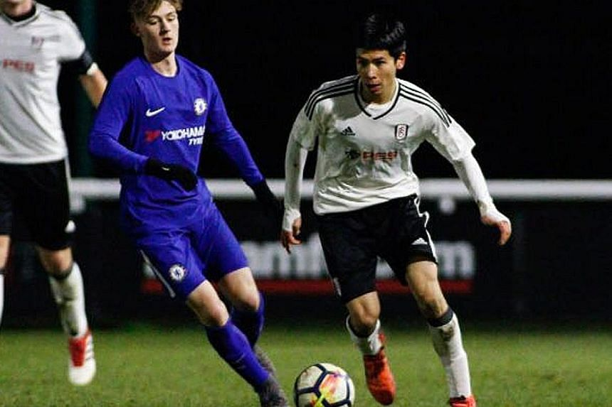Ben Davis in action during a Fulham Under-18 match against Chelsea. He has already played for Singapore's U-19 team.