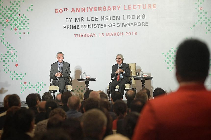 Prime Minister Lee Hsien Loong answering questions during the question-and-answer session moderated by Professor Tommy Koh at the ISEAS - Yusof Ishak Institute's 50th anniversary lecture yesterday.
