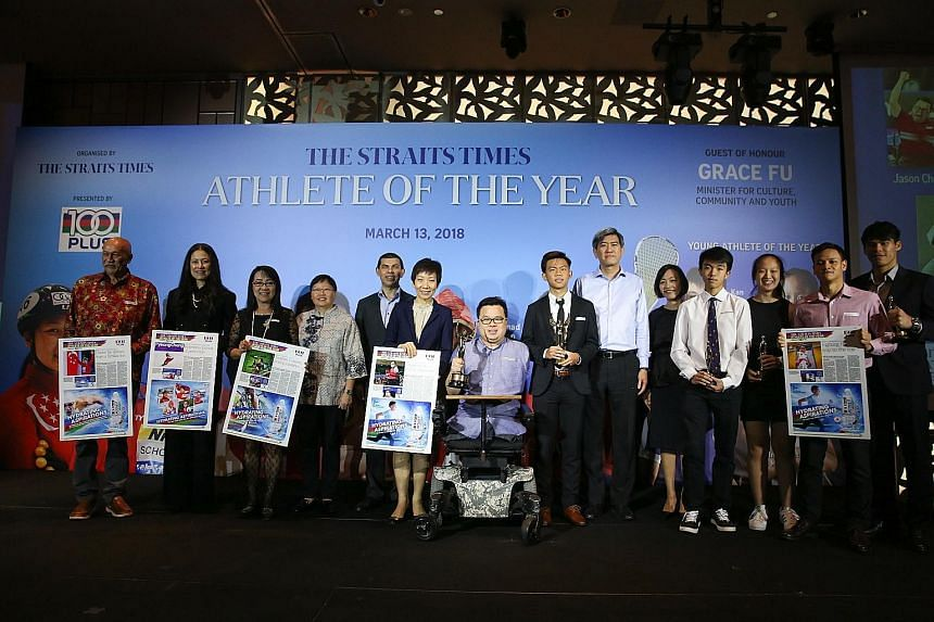 From left: Swimmer Joseph Schooling's uncle Jacs Schooling; Singapore Ice-Skating Association president Sonja Chong; bowler Shayna Ng's mother Mary Ng; ST sports editor Lee Yulin; SPH's editor-in-chief of the English/Malay/Tamil Media Group and Strai