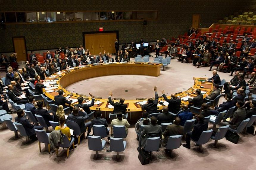 Members of the Security Council at a United Nations Security Council meeting in New York on Feb 24, 2018.