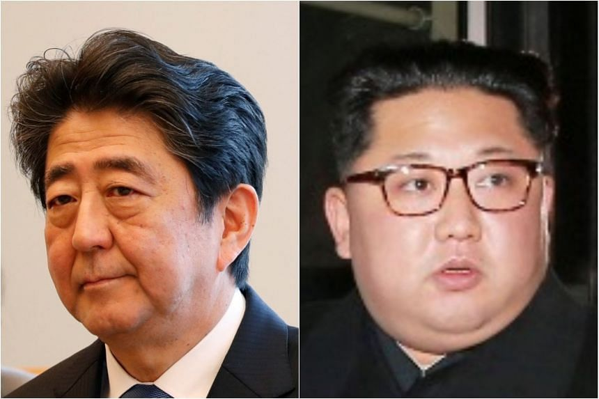 The prospect of a summit between Prime Minister Shinzo Abe (left) and North Korean leader Kim Jong Un also comes at a time of political turmoil for Japan's premier who is under fire at home over the discount sale of government land to one of his supp