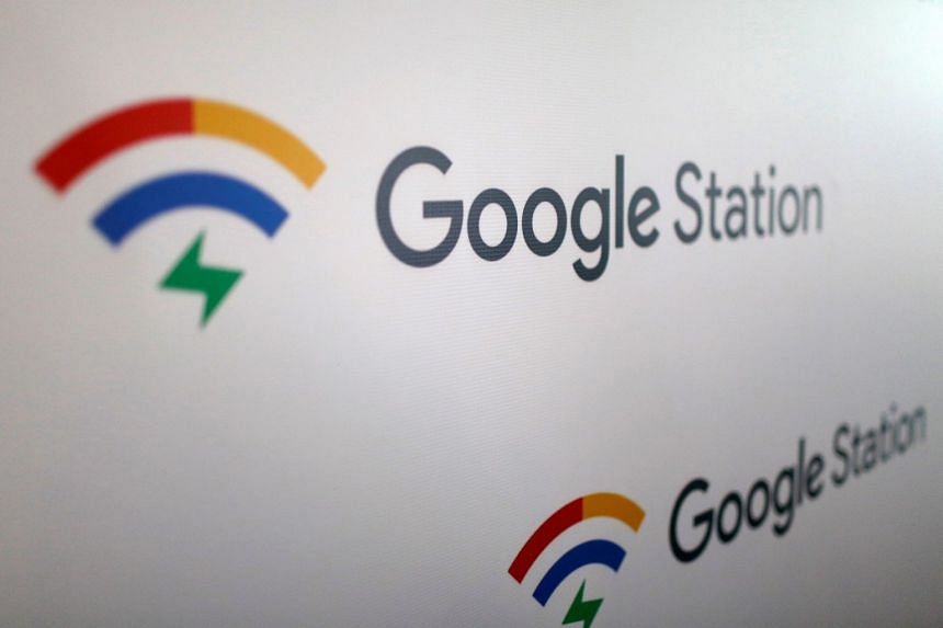 A sign shows the logo of Google Station before a news conference to announce the launching of a network of free WI-FI hotspots across the country, in Mexico City, on March 13, 2018.