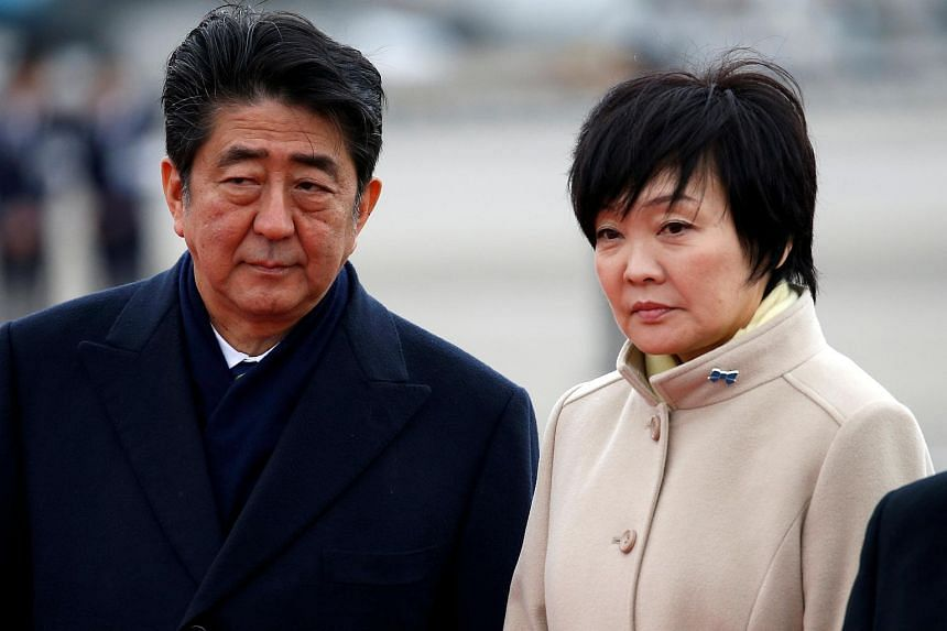 Japanese Prime Minister Shinzo Abe said the documents disclosed this week related to a controversial discount land sale show there was no involvement by either him or his wife, Akie (right), in the deal.