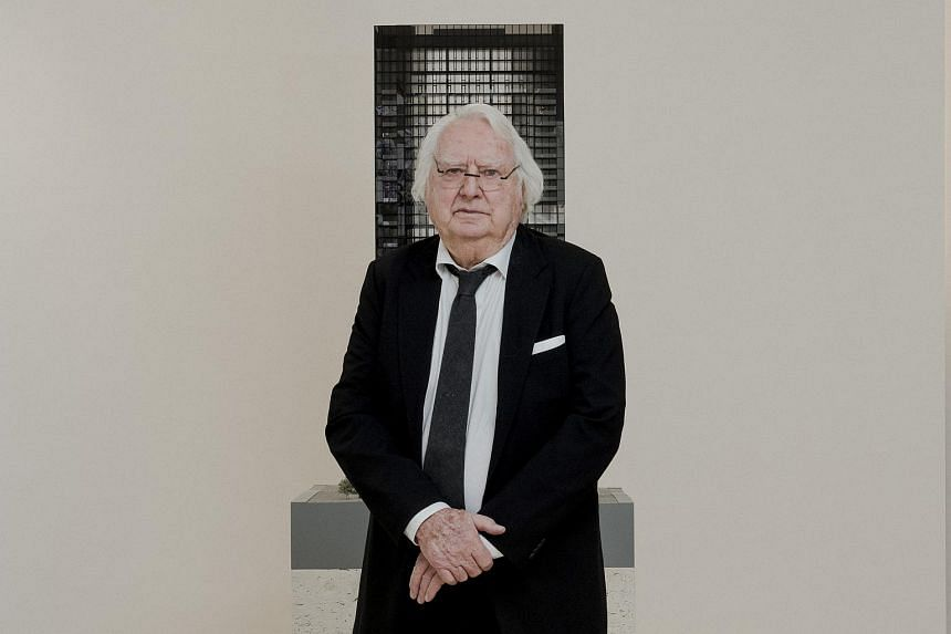 Richard Meier with a model for a residential tower in Manhattan on March 8, 2018. In response to sexual allegations made against him, the architect announced a six-month leave as founder and managing partner of his firm.