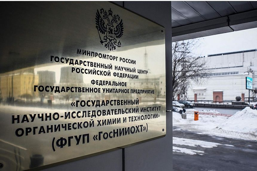 A sign for the State Scientific Research Institute of Organic Chemistry and Technology, where the group of nerve agents known as Novichok were allegedly developed by the institute's Soviet scientists according to Russian media.