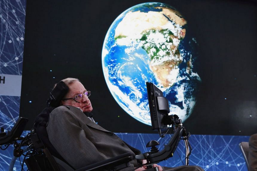 A file photo of physicist Stephen Hawking on stage during an announcement of the Breakthrough Starshot initiative with investor Yuri Milner in New York, on April 12, 2016.