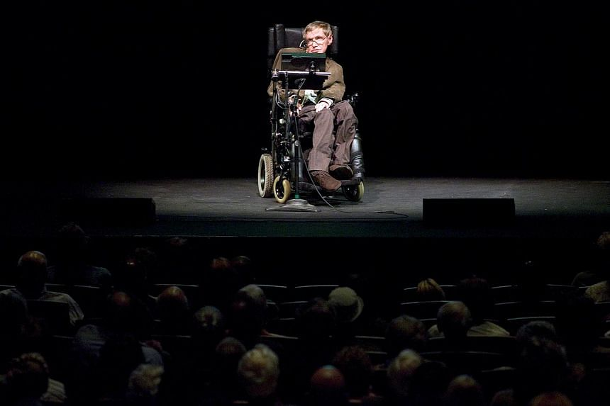 A file photo of Stephen Hawking discussing theories on the origin of the universe in a talk in Berkeley, California, on March 13, 2007.