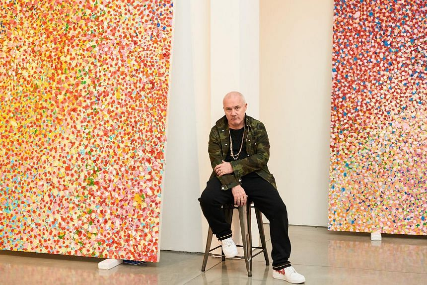 Damien Hirst prepares to show his new series Veil Paintings at the Gagosian Gallery in Beverly Hills, California on Feb 28, 2018.