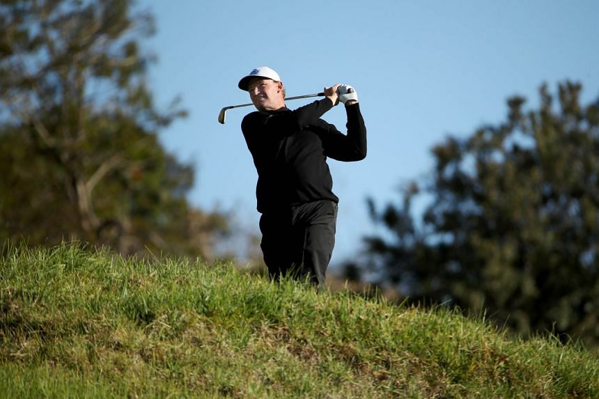 Ernie Els of South Africa plays his shot from the fifth tee during the second round of the Genesis Open.