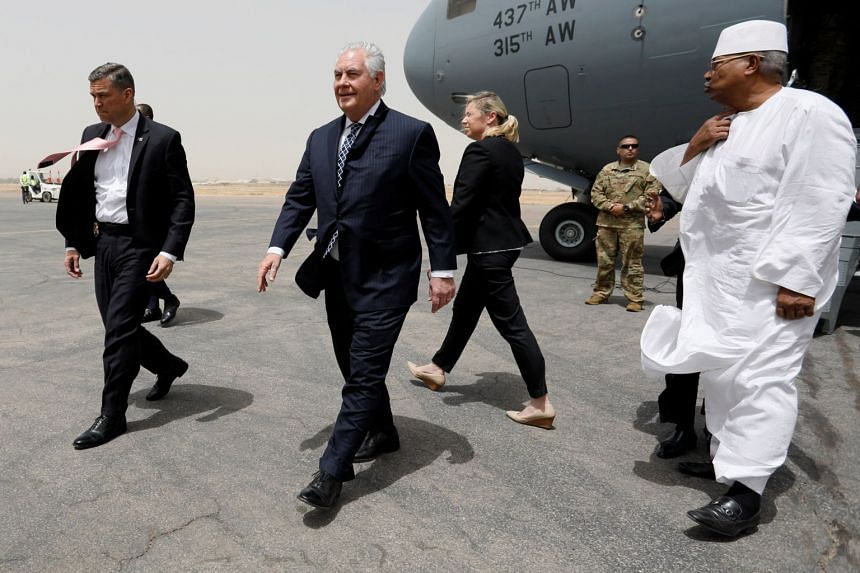 Rex Tillerson at the international airport in Ndjamena, Chad, on March 12, 2018.