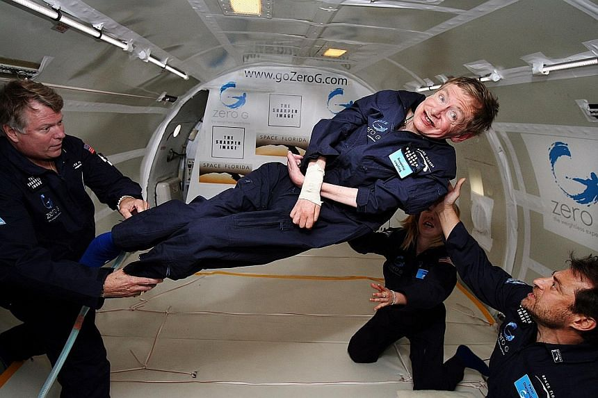 "A 2007 photo showing British cosmologist Stephen Hawking experiencing zero gravity during a flight over the Atlantic Ocean. ""It was amazing... I could have gone on and on,"" the renowned physicist said after riding for two hours on a modified jet that"