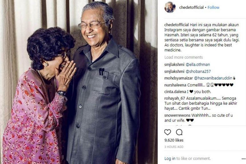 Malaysia's former Prime Minister Mahathir Mohamad launched his account chedetofficial by posting a photo of his wife Tun Dr Siti Hasmah Mohd Ali and him laughing together.