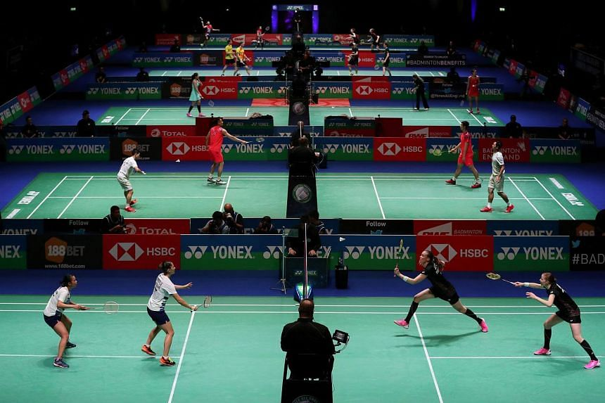 Participants in action during the first round matches of the All England Open Badminton Championships at the Arena Birmingham, Britain on March 14, 2018.