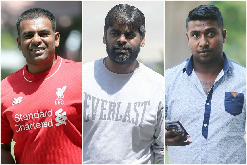 (From left) Ramachandra Chandramohan was sentenced to jail for a year and a week, and fined $8,000, while Gunasegaran Rajendran and Jaya Kumar Krishnasamy were fined $8,000 and $8,500 respectively.