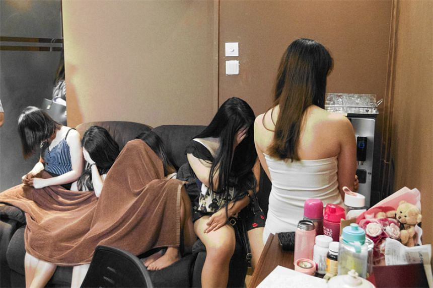 Ten women were arrested for offences under the Women's Charter and Employment of Foreign Manpower Act.
