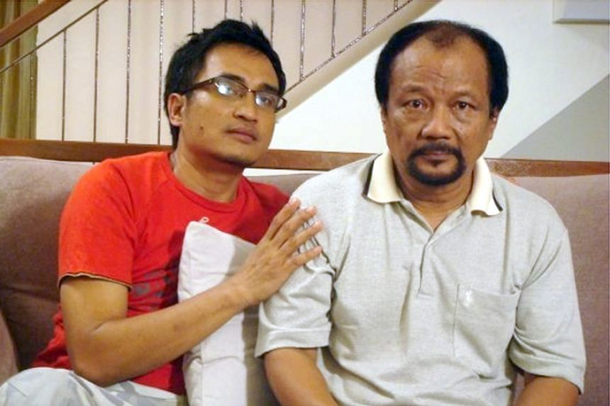 M. Ramlee (right) on the set of a local television drama series.