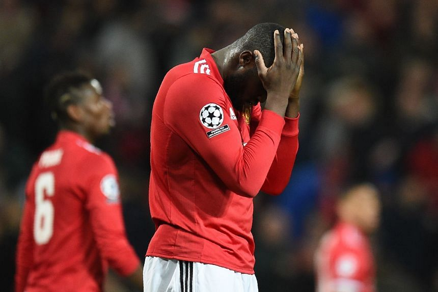 Manchester United's Romelu Lukaku reacts after missing a chance in the second leg of the Champions League last 16 tie against Sevilla at Old Trafford. The striker did score a consolation but could not prevent the Spanish side winning 2-1 to progres