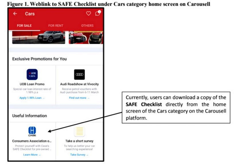 Carousell currently includes a link to the generic Safe checklist for pre-owned cars in its app, which consumers can download for their reference.